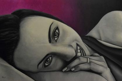 """Título: (Sin título)Serie: Retratos """"Black&White""""Año: 2011Tamaño: 120x80 cmTécnica: acrílico y oleo sobre tablero de DM"""