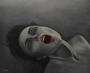 """Título: (Sin título)Serie: Retratos """"Black&White""""Año: 2013Tamaño: 75.6x66 cmTécnica: acrílico y oleo sobre tablero de DM"""