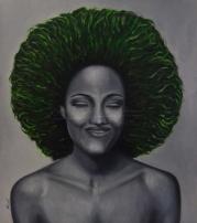 """Título: (Sin título)Serie: Retratos """"Black&White""""Año: 2013Tamaño: 65x75 cmTécnica: acrílico y oleo sobre tablero de DM"""