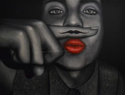 """Título: El BigotiSerie: Retratos """"Black&White""""Año: 2013Tamaño: 98x126 cmTécnica: acrílico y oleo sobre tablero de DM"""