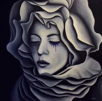 """Título: El estigma de la florSerie: Retratos """"Black&White""""Año: 2014Tamaño: 100x100 cmTécnica: acrílico y oleo sobre tablero de DM"""