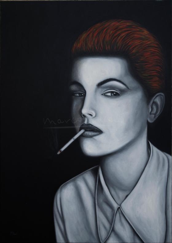 "Título: Ruby Jean WilsonSerie: Retratos ""Black&White""Año: 2016Tamaño: 116x81 cmTécnica: acrílico y oleo sobre lienzo"