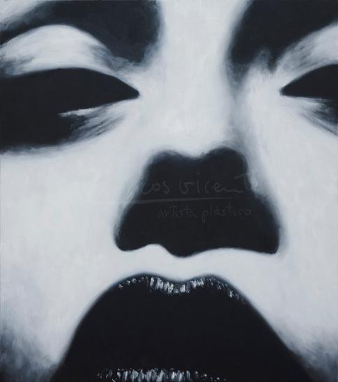"Título: Dark KissSerie: Retratos ""Black&White""Año: 2016Tamaño: 68x60 cmTécnica: oleo sobre tablero de DM"