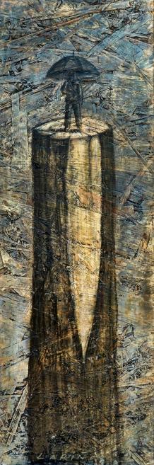 Número: 11Título: LLuvias invisibles Técnica: Carbón y pastel sobre tabla Tamaño: 60x20 cm Año: 2016