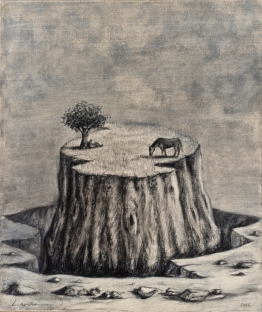 Número: 14Título: Relequia interitum opus 200 Técnica Carbón sobre tela Tamaño: 73x60 cm Año: 2016