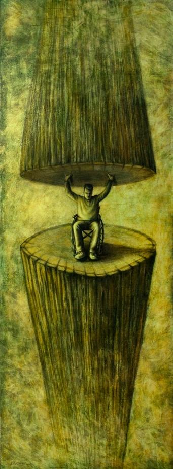 Número: 18Título: Ambucare per desiderium et vita Técnica: Carbón y óleo sobre tela Tamaño: 190x70 cm Año: 2016