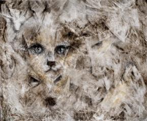 Número: 2Título: Amagatall Técnica: Óleo, carbón y lápiz de color sobre tela Tamaño: 50x60 cm Año: 2016